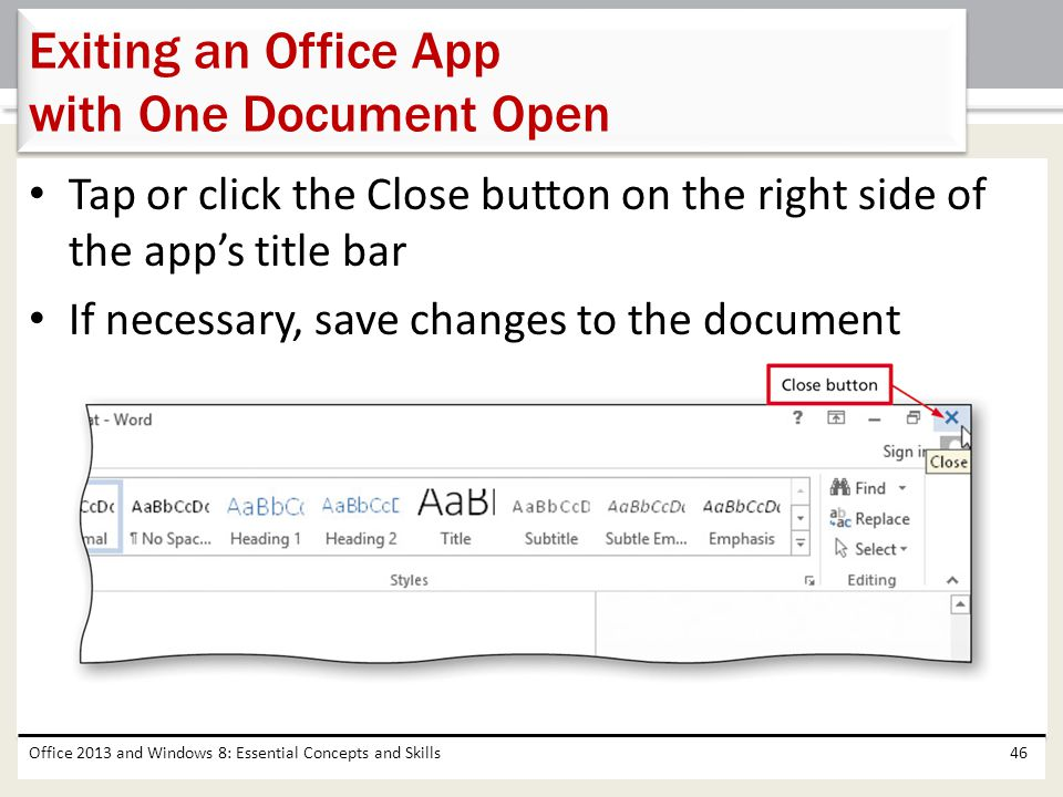 Exiting an Office App with One Document Open