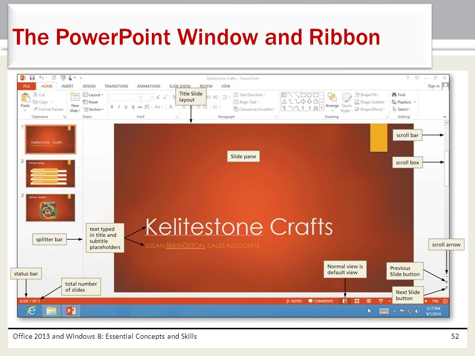 The PowerPoint Window and Ribbon