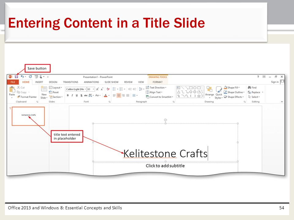Entering Content in a Title Slide
