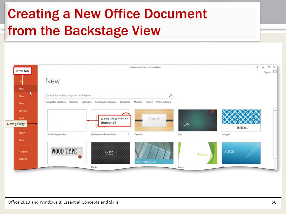 Creating a New Office Document from the Backstage View