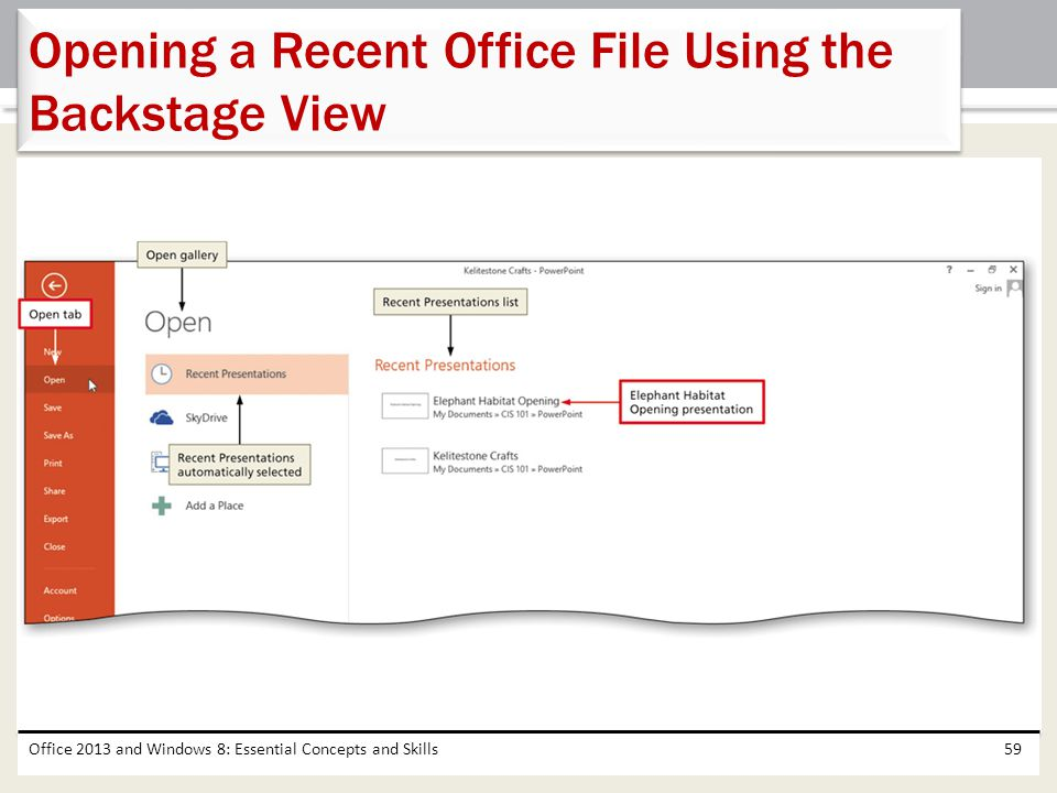 Opening a Recent Office File Using the Backstage View