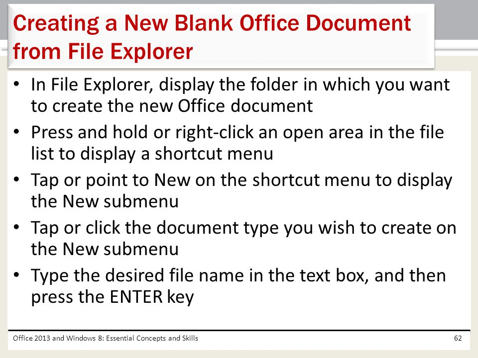 Creating a New Blank Office Document from File Explorer