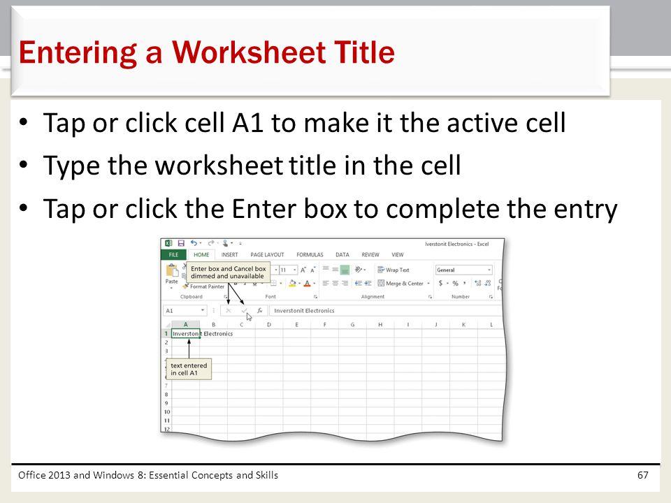 Entering a Worksheet Title