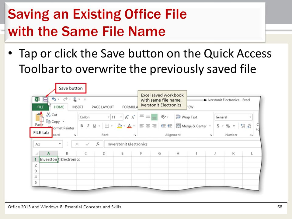 Saving an Existing Office File with the Same File Name