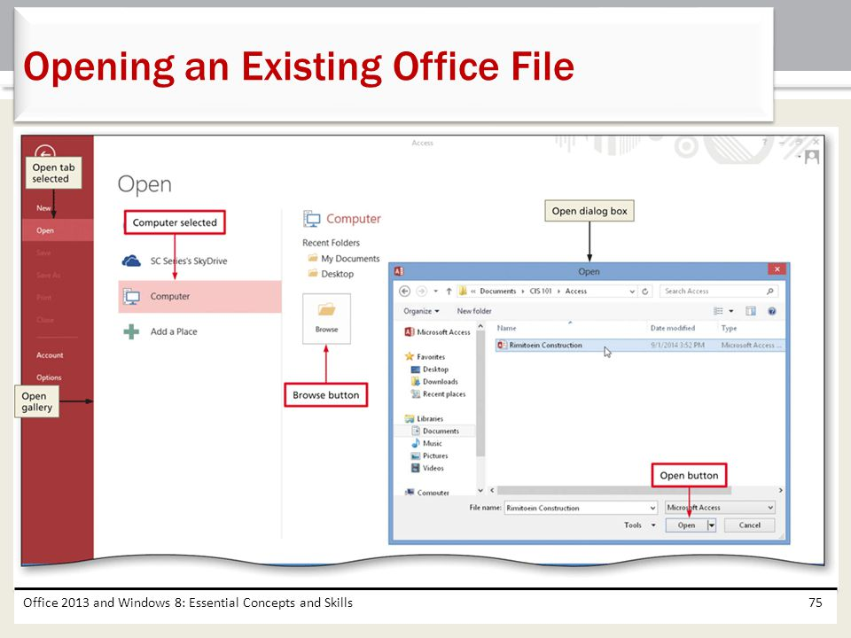 Opening an Existing Office File
