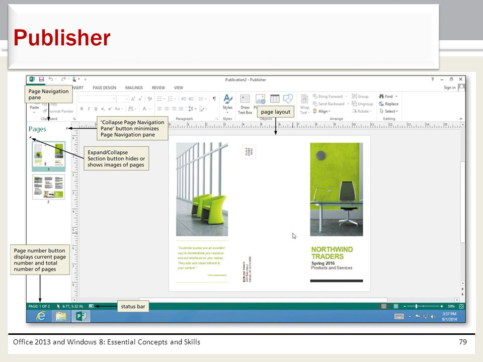 Publisher Office 2013 and Windows 8: Essential Concepts and Skills