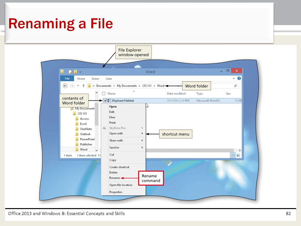 Renaming a File Office 2013 and Windows 8: Essential Concepts and Skills