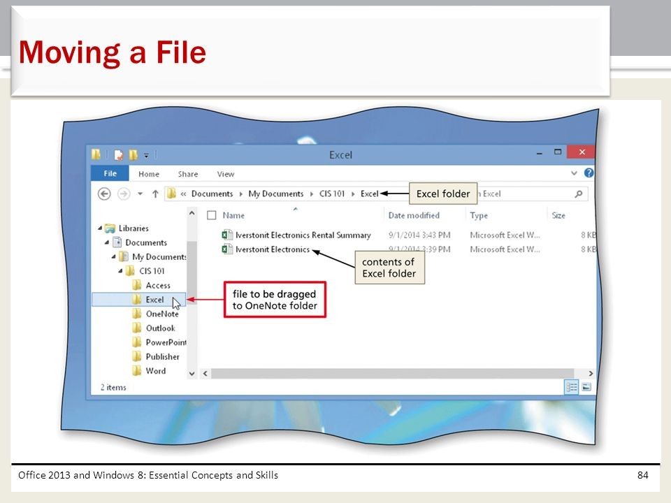 Moving a File Office 2013 and Windows 8: Essential Concepts and Skills