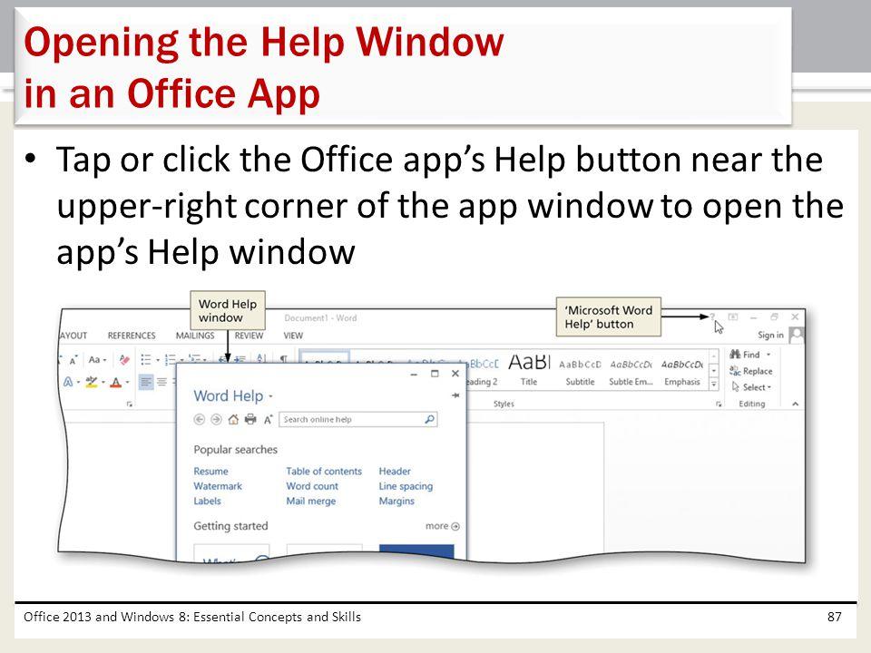 Opening the Help Window in an Office App