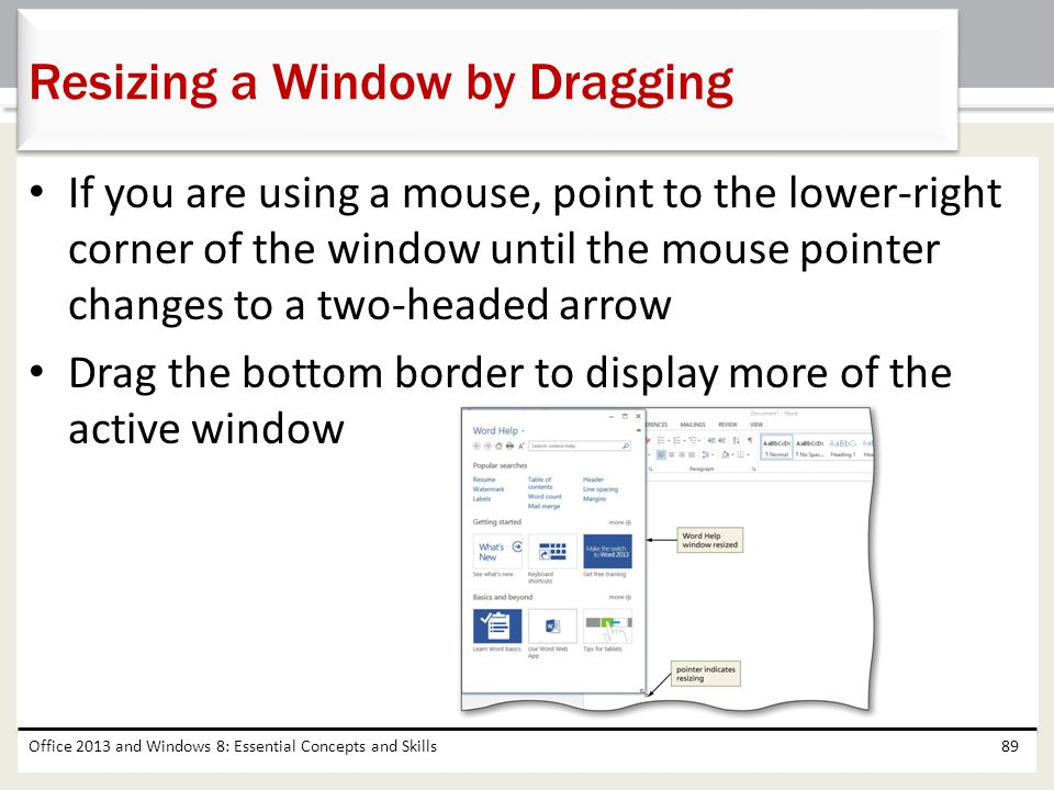 Resizing a Window by Dragging