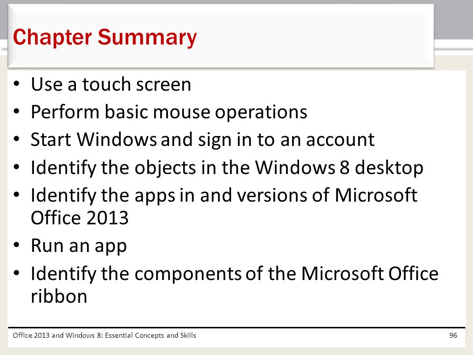 Chapter Summary Use a touch screen Perform basic mouse operations