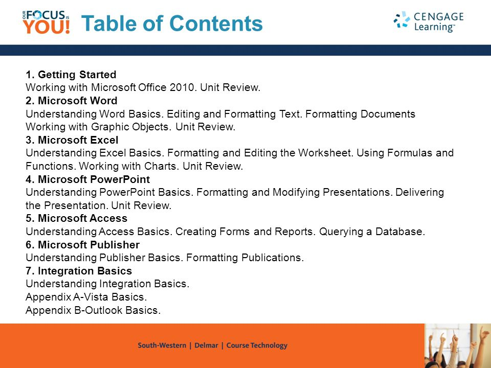 Table of Contents 1. Getting Started Working with Microsoft Office 2010. Unit Review. 2. Microsoft Word.