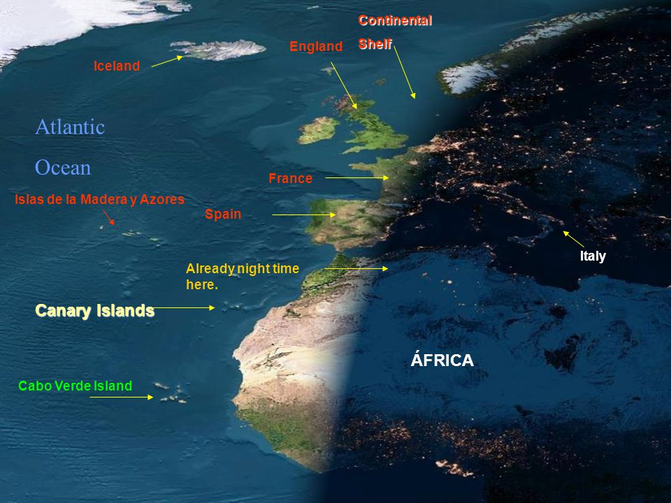 Atlantic Ocean Canary Islands ÁFRICA Continental Shelf England Iceland