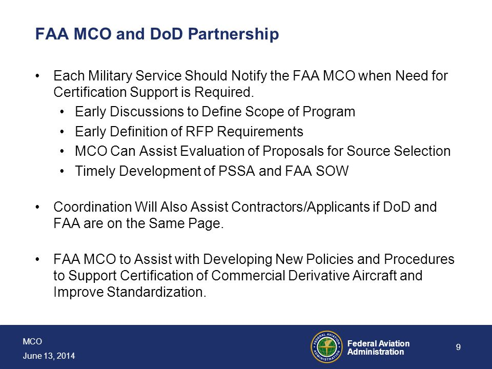 FAA MCO and DoD Partnership