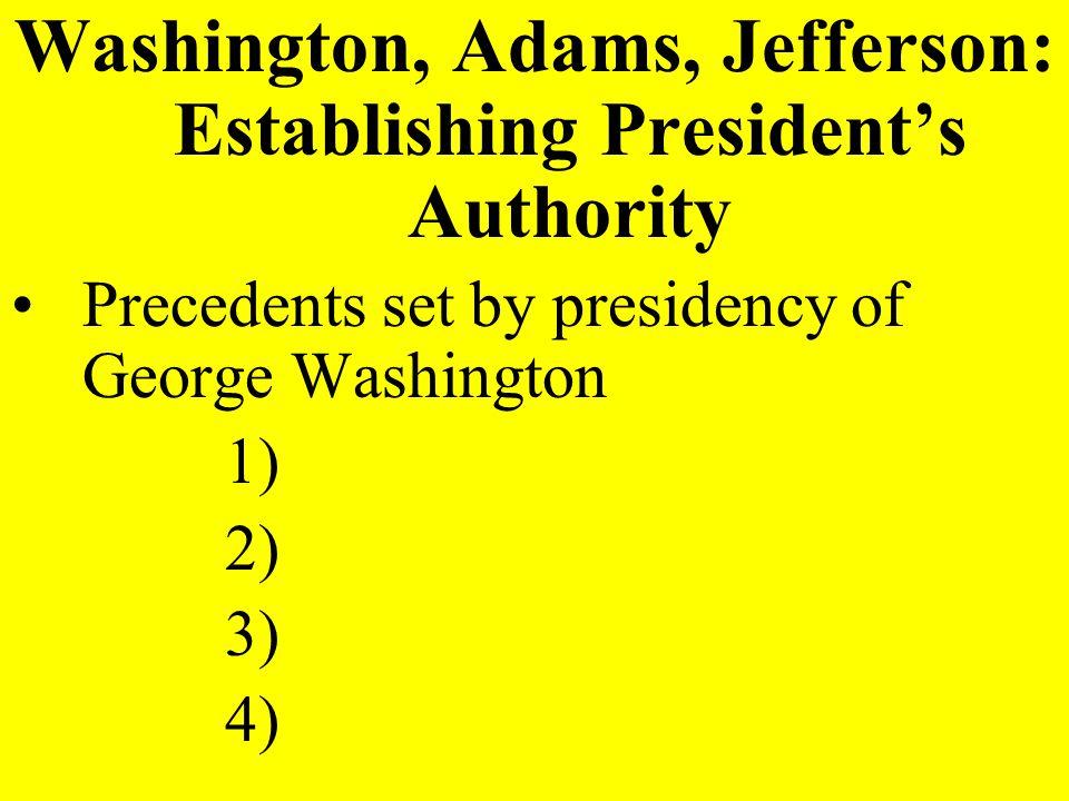 Washington, Adams, Jefferson: Establishing President's Authority