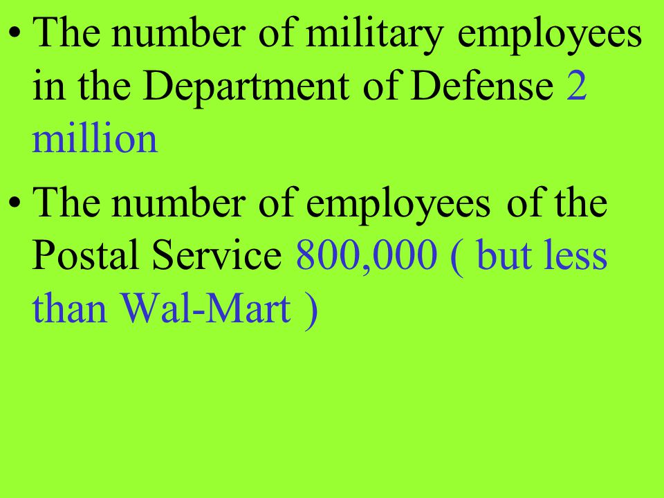The number of military employees in the Department of Defense 2 million
