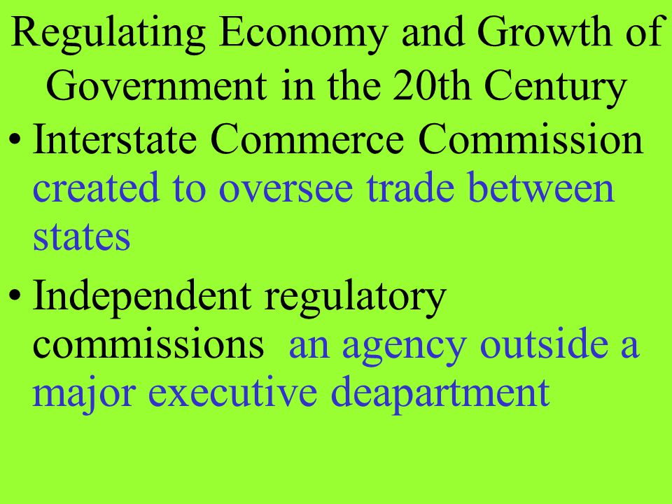 Regulating Economy and Growth of Government in the 20th Century
