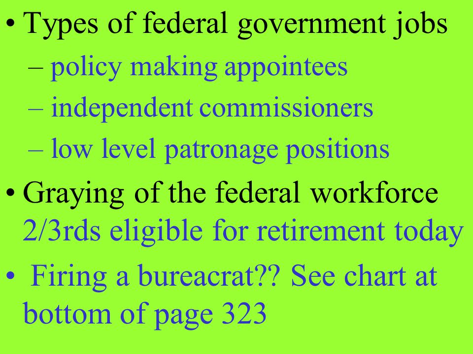 Types of federal government jobs