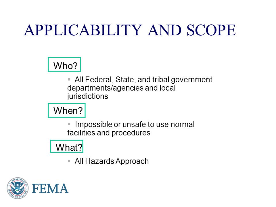APPLICABILITY AND SCOPE