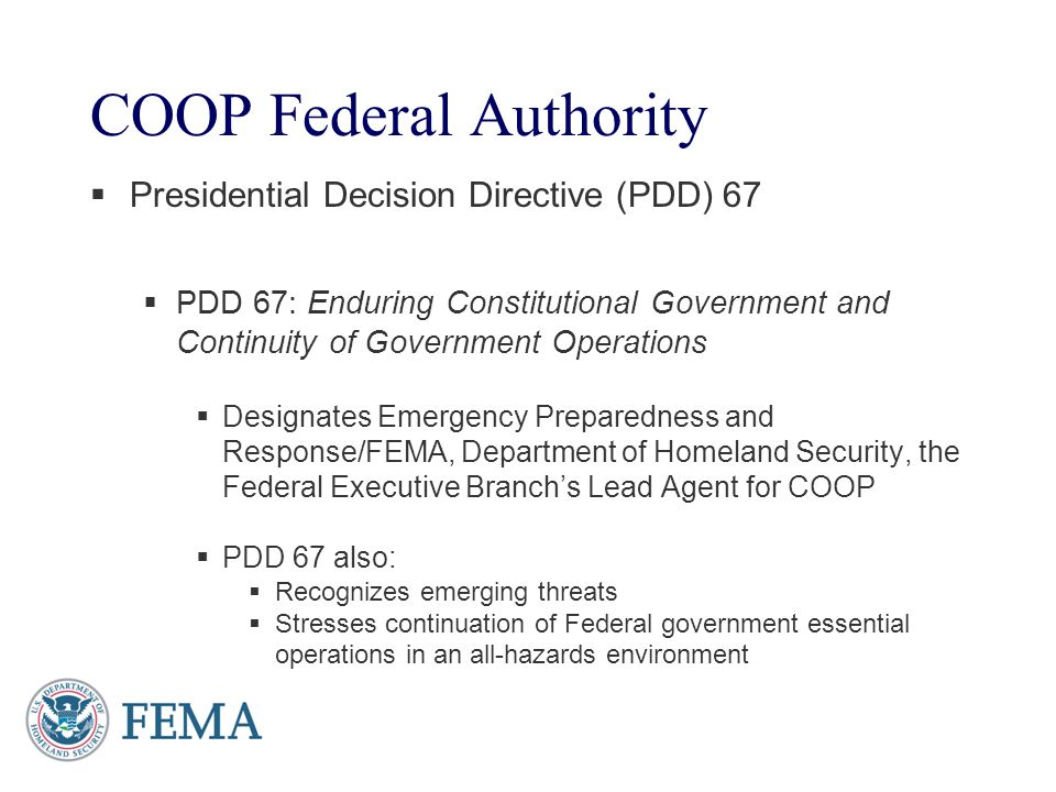 COOP Federal Authority