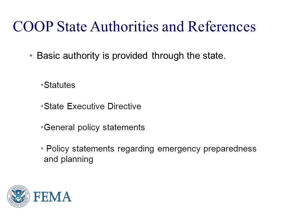 COOP State Authorities and References