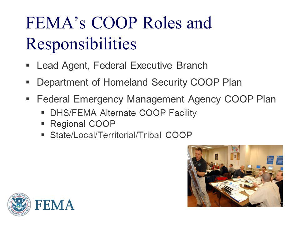 FEMA's COOP Roles and Responsibilities