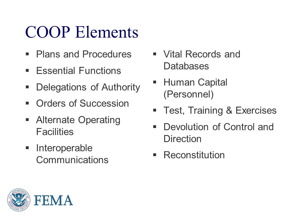 COOP Elements Plans and Procedures Essential Functions