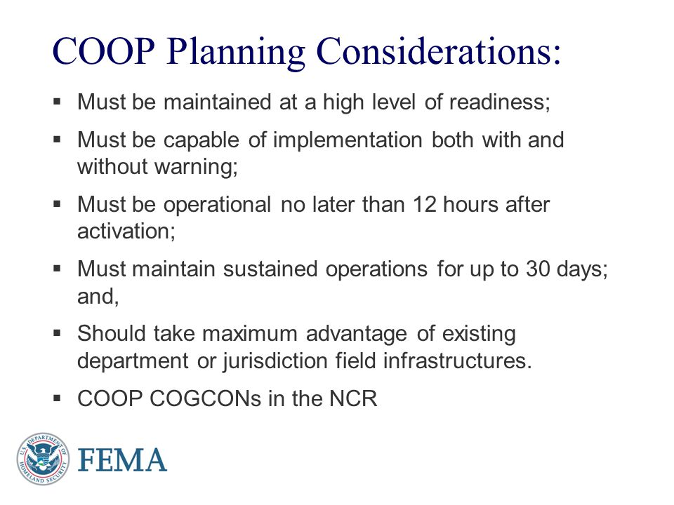 COOP Planning Considerations: