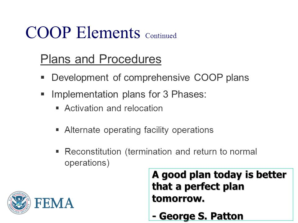 COOP Elements Continued