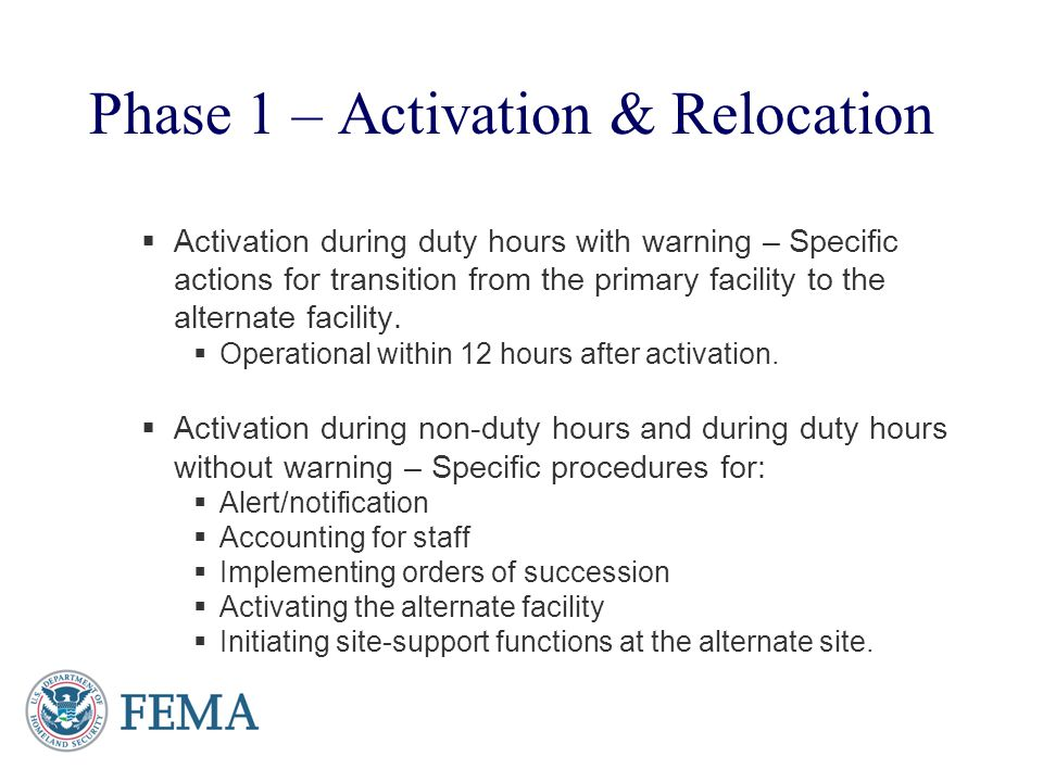 Phase 1 – Activation & Relocation