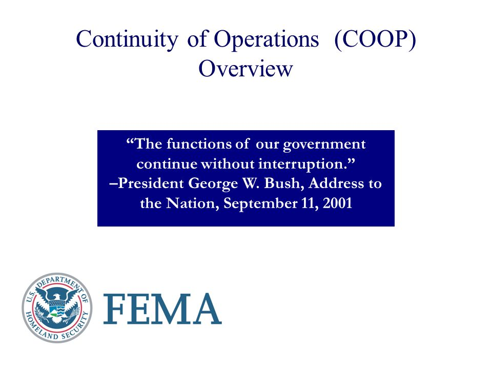 Continuity of Operations (COOP) Overview
