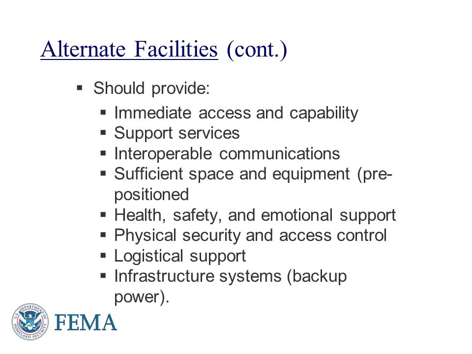Alternate Facilities (cont.)