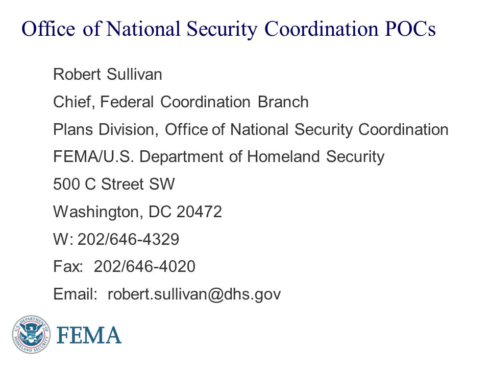 Office of National Security Coordination POCs