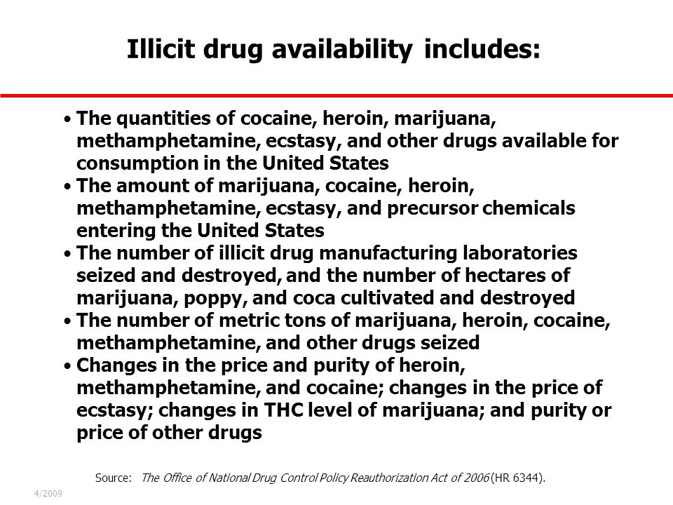 Illicit drug availability includes: