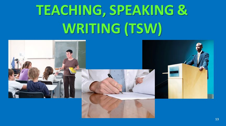 TEACHING, SPEAKING & WRITING (TSW)