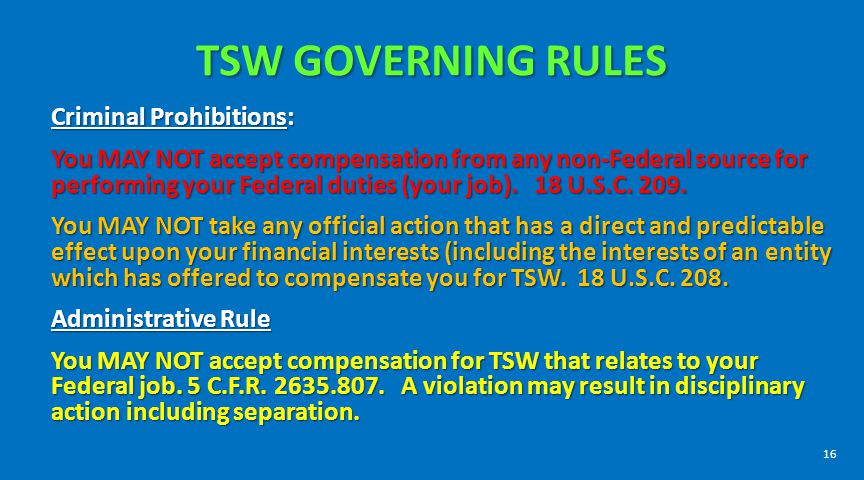 TSW GOVERNING RULES