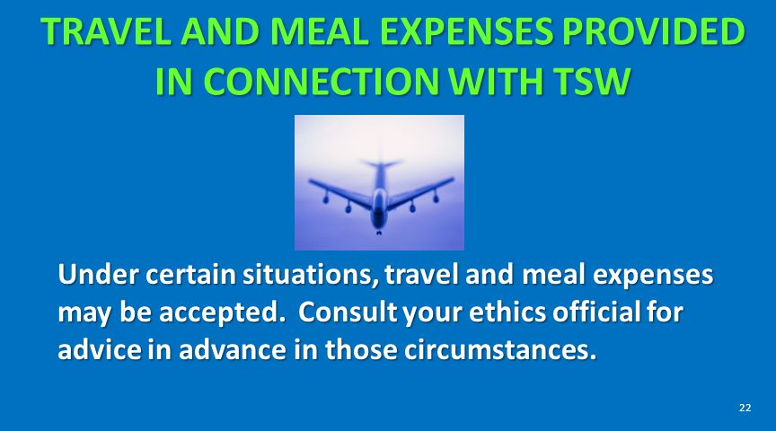 TRAVEL AND MEAL EXPENSES PROVIDED IN CONNECTION WITH TSW