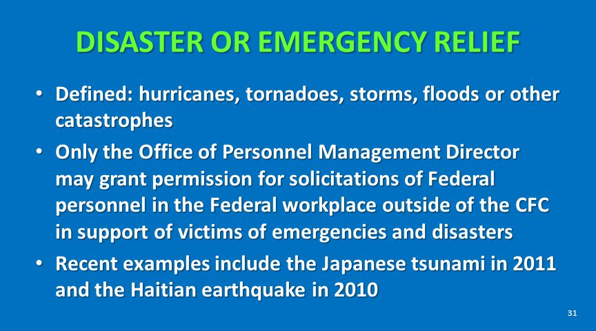Disaster or Emergency Relief