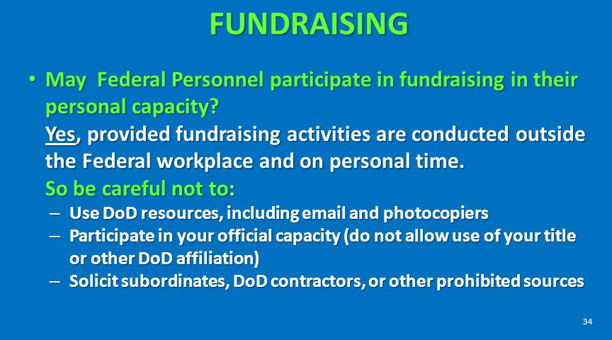 FUNDRAISING May Federal Personnel participate in fundraising in their personal capacity