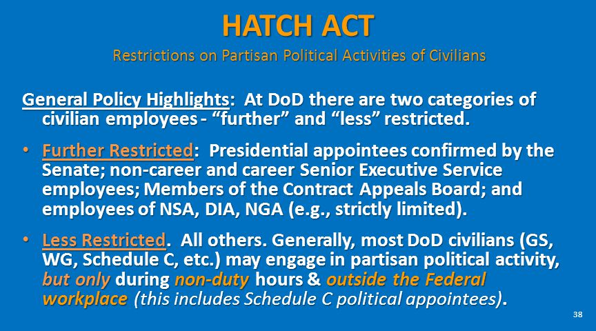 HATCH ACT Restrictions on Partisan Political Activities of Civilians