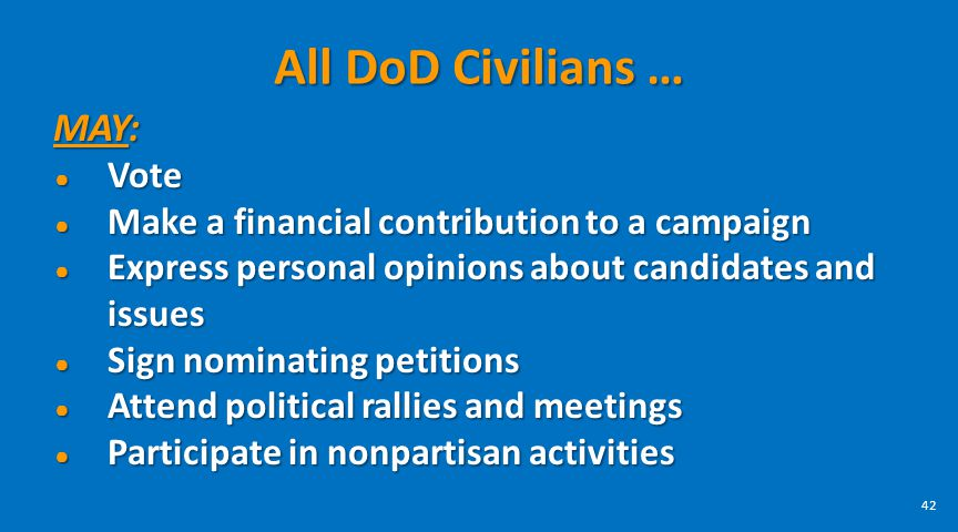 All DoD Civilians … MAY: Vote