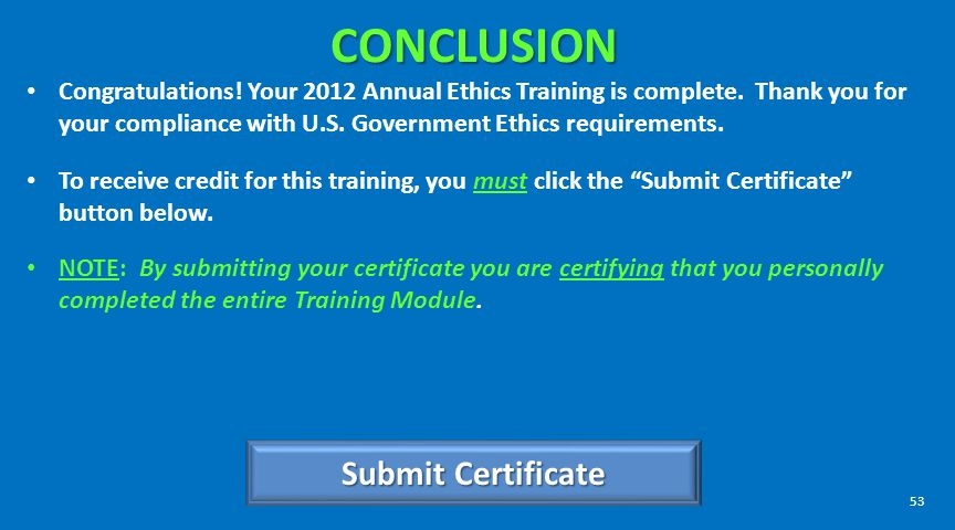 CONCLUSION Submit Certificate