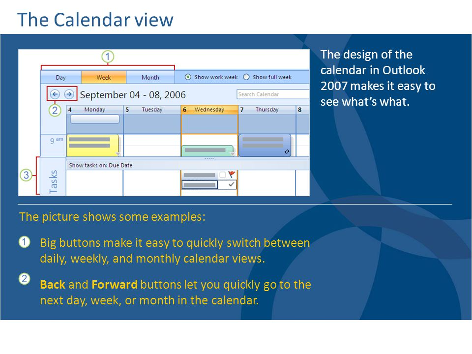 The Calendar view The design of the calendar in Outlook 2007 makes it easy to see what's what. The picture shows some examples:
