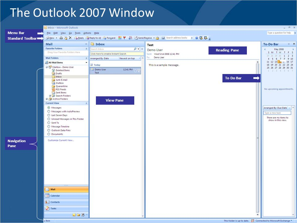 The Outlook 2007 Window Environment Menu Bar Standard Toolbar