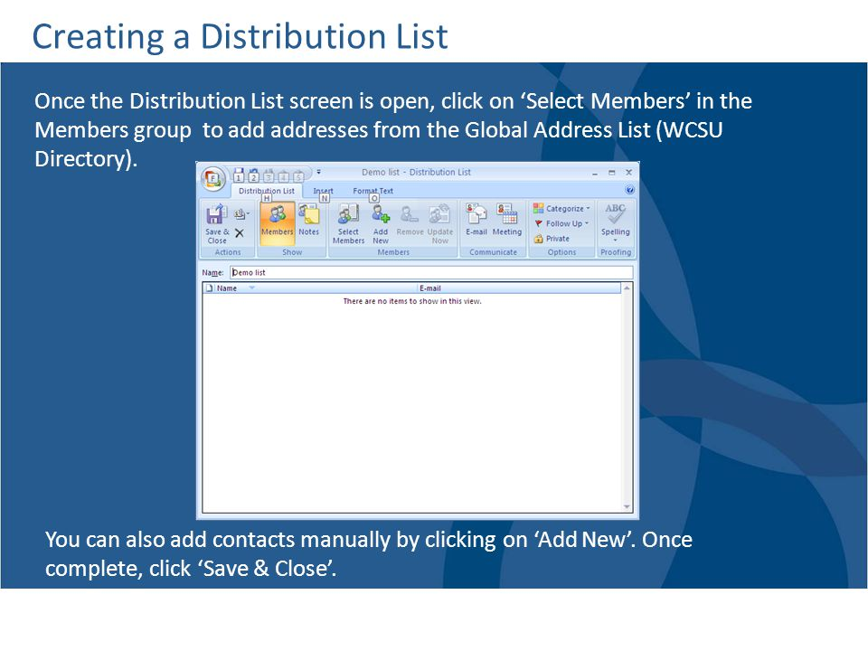 Creating a Distribution List