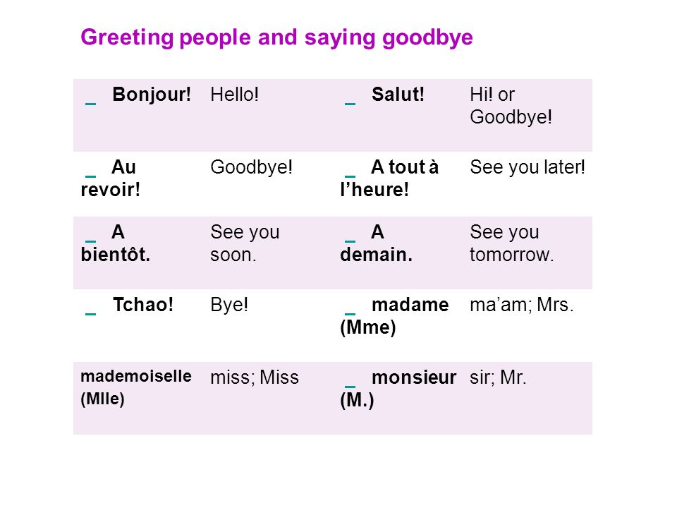 Greeting people and saying goodbye
