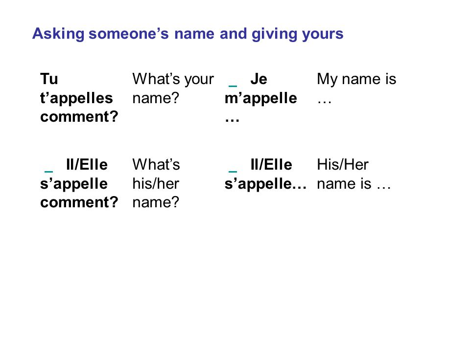 Asking someone's name and giving yours