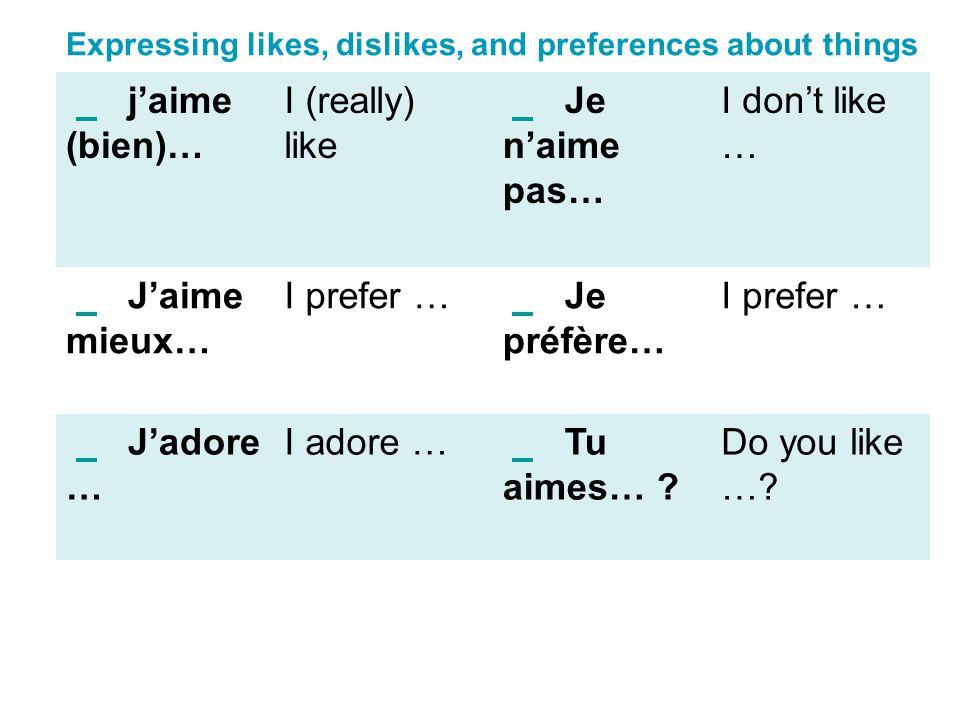 j'aime (bien)… I (really) like Je n'aime pas… I don't like …
