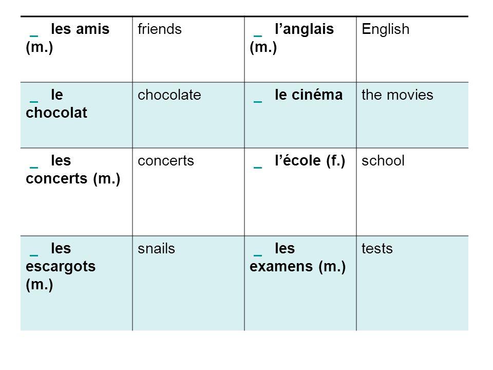 les amis (m.) friends. l'anglais (m.) English. le chocolat. chocolate. le cinéma.