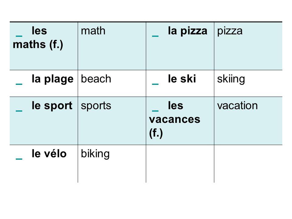 les maths (f.) math. la pizza. pizza. la plage. beach. le ski. skiing.